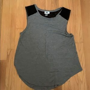 Black and grey old navy laced tank top